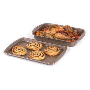 Salter COMBO-4372 Metallic Oven Baking Tray and Roasting Tin, 38 cm, Champagne