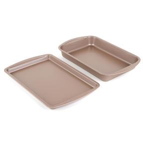 Salter COMBO-4372 Metallic Oven Baking Tray and Roasting Tin, 38 cm, Champagne Thumbnail 2