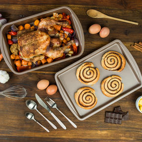 Salter COMBO-4372 Metallic Oven Baking Tray and Roasting Tin, 38 cm, Champagne Thumbnail 3