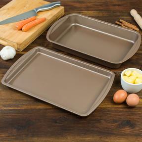 Salter COMBO-4372 Metallic Oven Baking Tray and Roasting Tin, 38 cm, Champagne Thumbnail 4