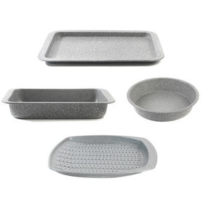 Salter COMBO-4723 Marble Baking and Roasting Set with Chip Tray, Roasting Tray, Baking Tray and Round Pan