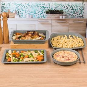 Salter COMBO-4723 Marble Baking and Roasting Set with Chip Tray, Roasting Tray, Baking Tray and Round Pan Thumbnail 2