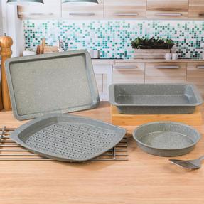 Salter COMBO-4723 Marble Baking and Roasting Set with Chip Tray, Roasting Tray, Baking Tray and Round Pan Thumbnail 3