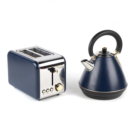 Salter COMBO-4767 1.7 Litre Pyramid Kettle with 2-Slice Toaster, Navy/Gold