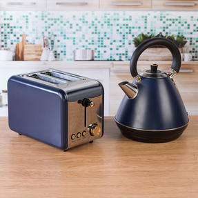 Salter COMBO-4767 1.7 Litre Pyramid Kettle with 2-Slice Toaster, Navy/Gold Thumbnail 3