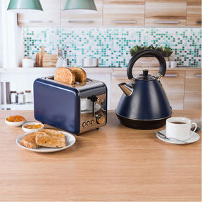 Salter COMBO-4767 1.7 Litre Pyramid Kettle with 2-Slice Toaster, Navy/Gold Thumbnail 4