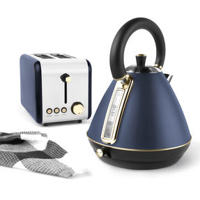 Salter COMBO-4767 1.7 Litre Pyramid Kettle with 2-Slice Toaster, Navy/Gold Thumbnail 5