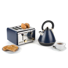 Salter COMBO-4768 1.7 Litre Pyramid Kettle with 4-Slice Toaster, Navy/Gold Thumbnail 2