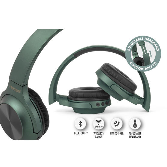 Intempo EE4661GRNSTKEU Urban Wireless Bluetooth Foldable Headphones for iPhones, Androids and Other Smart Devices, Up to 25 m Wireless Range and Built-in Hands Free Microphone
