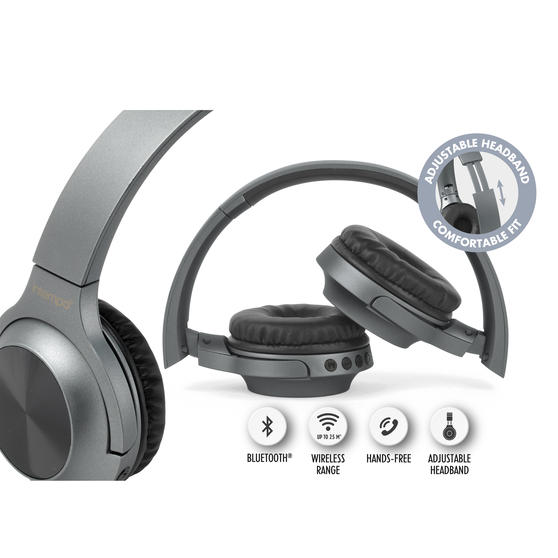 Intempo EE4661GRYSTKEU Urban Wireless Bluetooth Foldable Headphones for iPhones, Androids and Other Smart Devices, Up to 25 m Wireless Range and Built-in Hands Free Microphone
