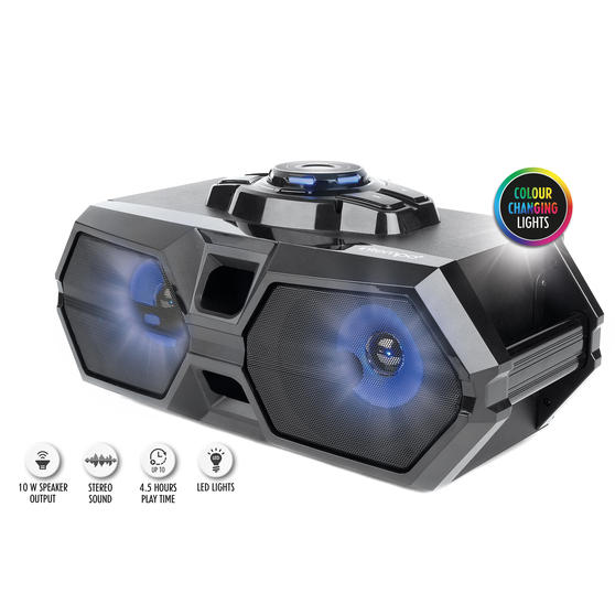 Intempo EE4469STKEU Rechargeable Bluetooth LED Party Speaker for iPhone, Android and Other Smart USB Devices