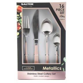 Salter BW08024C 16-Piece Metallic Champagne Cutlery Set, Stainless Steel Thumbnail 4