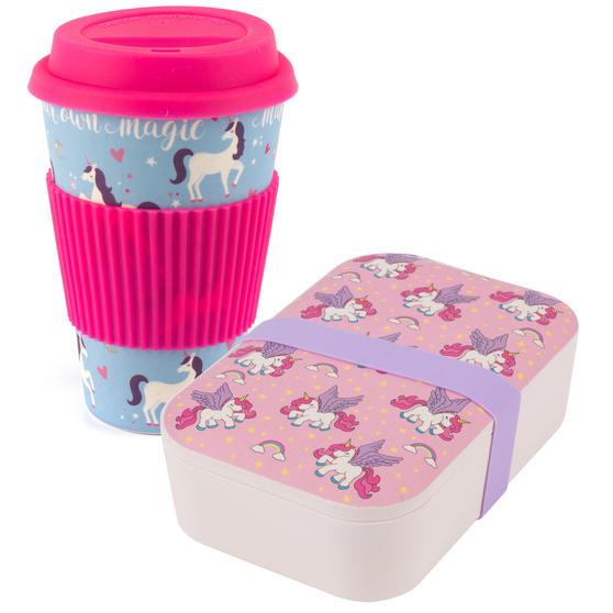 Cambridge COMBO-4971 Bamboo Eco Unicorns Flying Lunch Box with Magic Unicorns 16 oz Bamboo Travel Mug