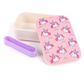 Cambridge COMBO-4971 Bamboo Eco Unicorns Flying Lunch Box with Magic Unicorns 16 oz Bamboo Travel Mug Thumbnail 3
