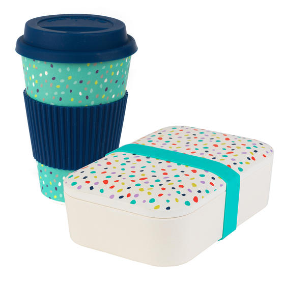 Cambridge COMBO-4974 Bamboo Eco Polka Lunch Box with Speckle 16 oz Bamboo Travel Mug