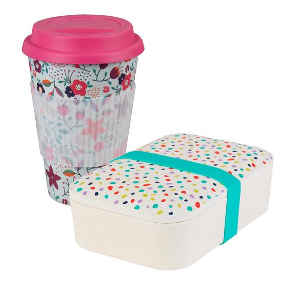 Cambridge COMBO-4975 Bamboo Eco Polka Lunch Box with Poppy Flowers 16 oz Bamboo Travel Mug