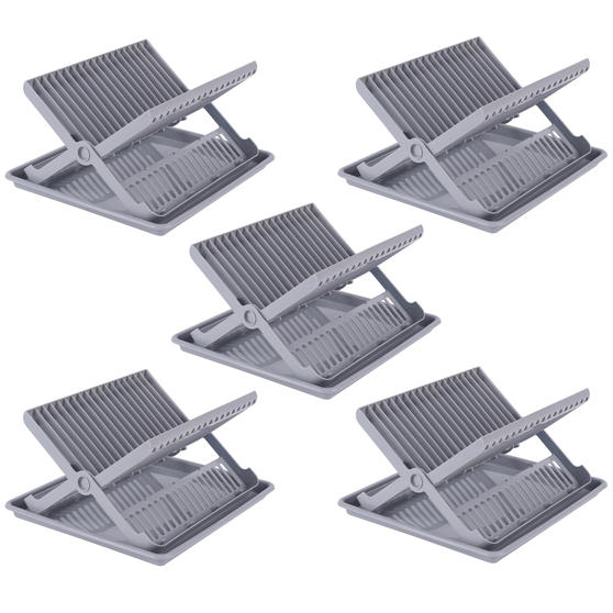 Beldray COMBO-5045 Plastic Dish Drainer with Cutlery Rack, Grey, Set of 5