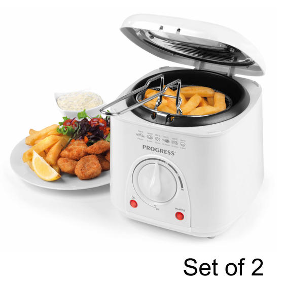 Progress COMBO-5048 Compact Deep Fat Fryer With Removable Cooking Basket, 1 L, 950 W, Set of 2