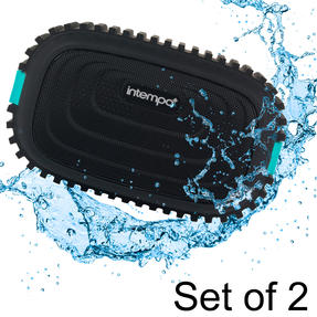 Intempo COMBO-5052 Water Resistant Wireless Bluetooth Speaker, Blue, 3 W, Set of 2