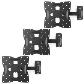 "Intempo COMBO-5065 Adjustable Wall Mounted TV Bracket, 17""-42?, Tilt and Swivel Function, Fixings Included, 30kg Weight Capacity, Steel, Black, Set of 3"