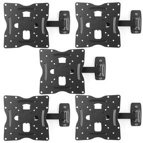 "Intempo COMBO-5066 Adjustable Wall Mounted TV Bracket, 17""-42?, Tilt and Swivel Function, Fixings Included, 30kg Weight Capacity, Steel, Black, Set of 5"