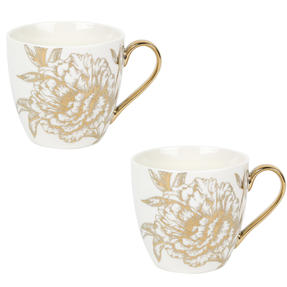 Cambridge COMBO-5067 Limited Edition Kendal Peony Fine China Mug, Set of 2