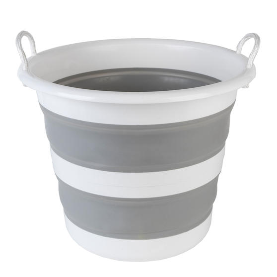 Kleeneze KL065438GRYEU Collapsible Cleaning Bucket, 30 Litre, Grey/White