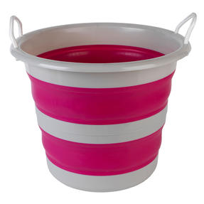 Collapsible Cleaning Bucket, 30 Litre, Pink/Grey