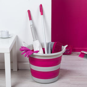 Kleeneze KL065438PNKEU Collapsible Cleaning Bucket, 30 Litre, Pink/Grey Thumbnail 3