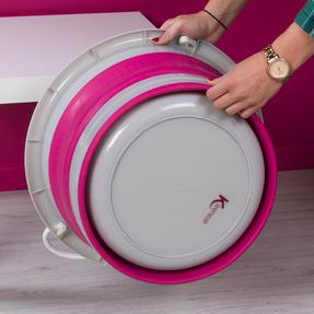 Kleeneze KL065438PNKEU Collapsible Cleaning Bucket, 30 Litre, Pink/Grey Thumbnail 5
