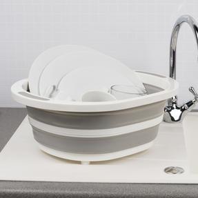 Kleeneze KL065414EU Collapsible Washing Up Bowl, White/Grey Thumbnail 4