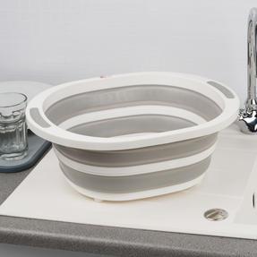 Kleeneze KL065414EU Collapsible Washing Up Bowl, White/Grey Thumbnail 6