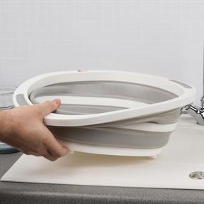 Kleeneze KL065414EU Collapsible Washing Up Bowl, White/Grey Thumbnail 7