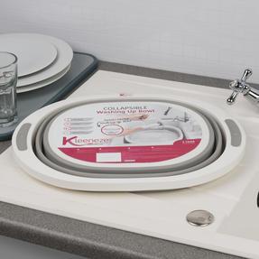Kleeneze KL065414EU Collapsible Washing Up Bowl, White/Grey Thumbnail 8