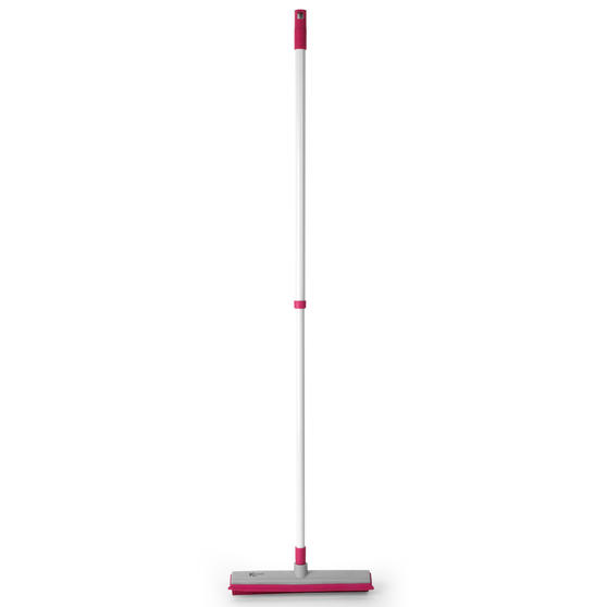 Electrostatic Rubber Head Floor Brush with Squeegee Edge, Pink/Grey