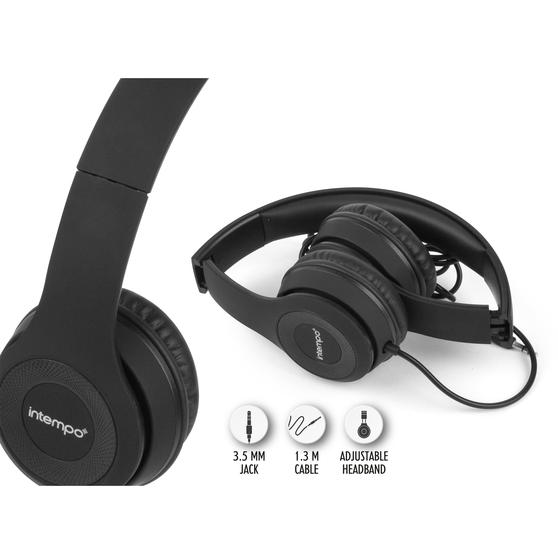 Intempo EE3778BLKSILSTKUK Folding Clarity Headphones, Black
