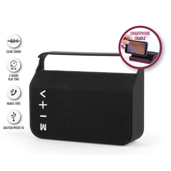 Intempo Harmony Portable Bluetooth Fabric Speaker, FM Radio, 3 W