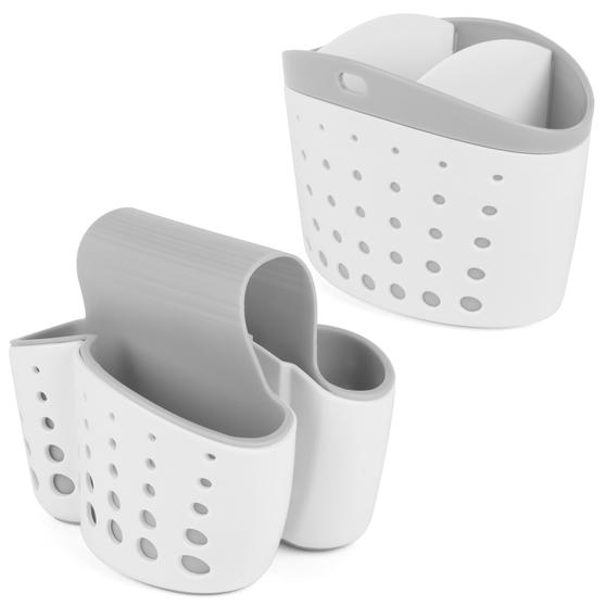 Kitchen Caddy Set with Over Sink Basket and Worktop Basket, 2 Piece, White / Grey
