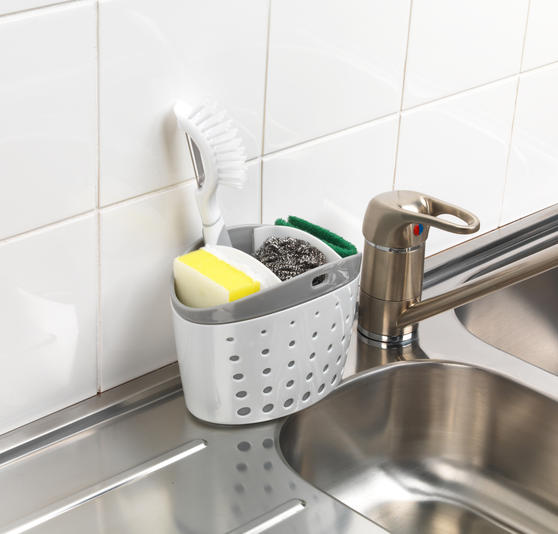 Kitchen Caddy Set with Over Sink Basket and Worktop Basket, 2 Piece, White / Grey   Thumbnail 2
