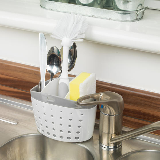 Kitchen Caddy Set with Over Sink Basket and Worktop Basket, 2 Piece, White / Grey   Thumbnail 3