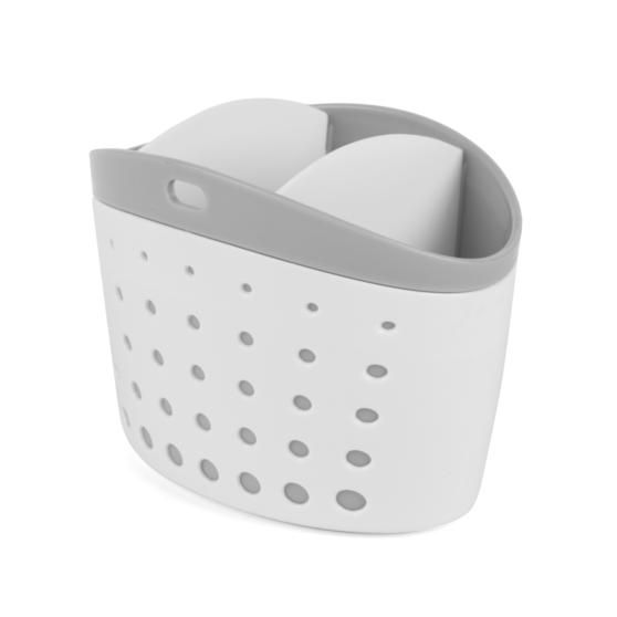 Kitchen Caddy Set with Over Sink Basket and Worktop Basket, 2 Piece, White / Grey   Thumbnail 5