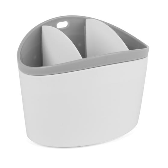 Kitchen Caddy Set with Over Sink Basket and Worktop Basket, 2 Piece, White / Grey   Thumbnail 6