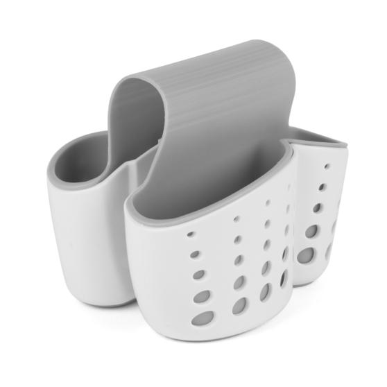 Kitchen Caddy Set with Over Sink Basket and Worktop Basket, 2 Piece, White / Grey   Thumbnail 7