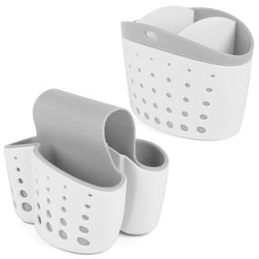 Beldray COMBO-3701 Kitchen Caddy Set with Over Sink Basket and Worktop Basket, 2 Piece, White / Grey