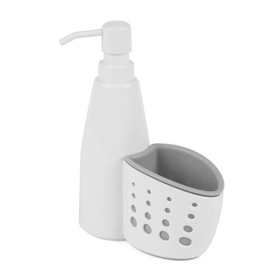 Large Dish Drainer and Kitchen Basket with Soap Dispenser, White/Grey Thumbnail 3