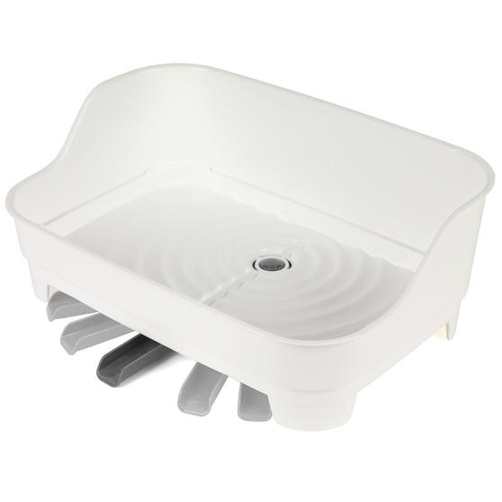 Large Dish Drainer and Kitchen Basket with Soap Dispenser, White/Grey Thumbnail 6