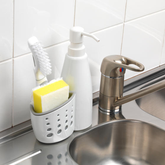 Large Dish Drainer and Kitchen Basket with Soap Dispenser, White/Grey Thumbnail 7