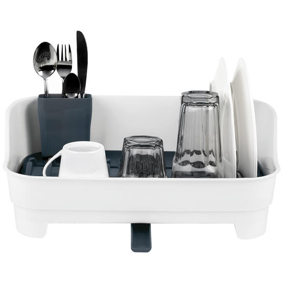 Large Dish Drainer and Tap Attachable Kitchen Basket, White/Grey Thumbnail 3