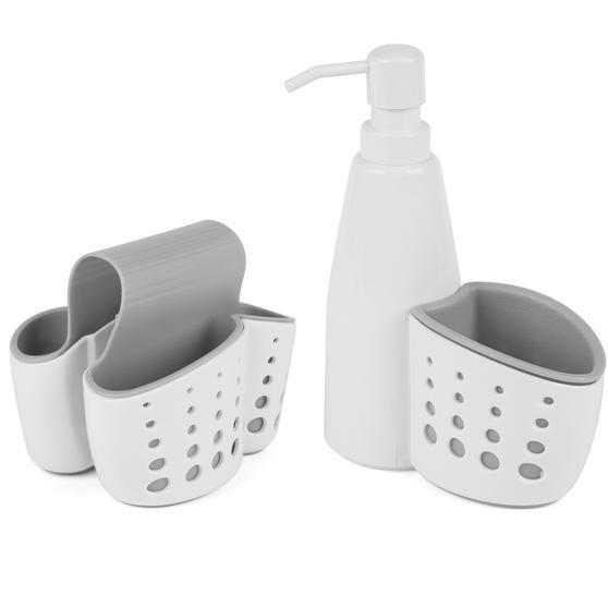 Kitchen Basket with Soap Dispenser and Over Sink Kitchen Basket, White/Grey
