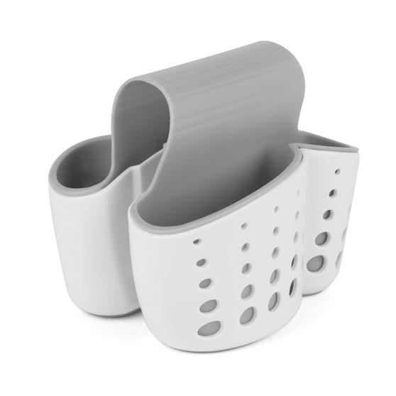 Kitchen Basket with Soap Dispenser and Over Sink Kitchen Basket, White/Grey Thumbnail 5